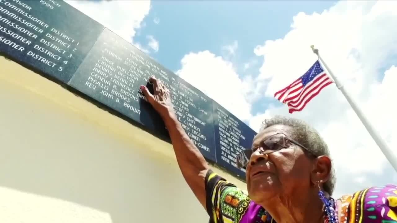 Edith Bush at Martin Luther King Jr. Landmark Memorial in West Palm Beach