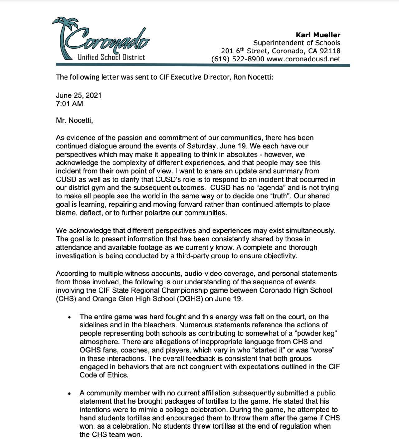 CUSD Superintendent Letter