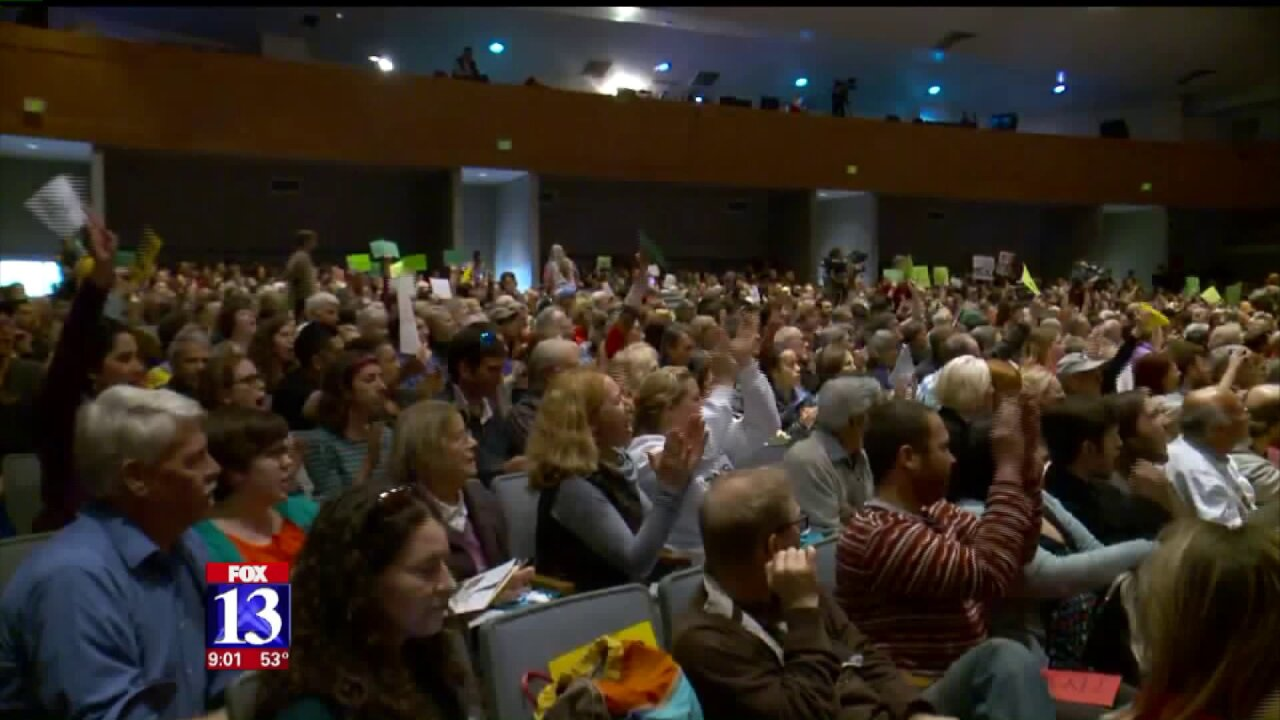 Hundreds pack auditorium for emotional town hall meeting with Rep. Chris Stewart