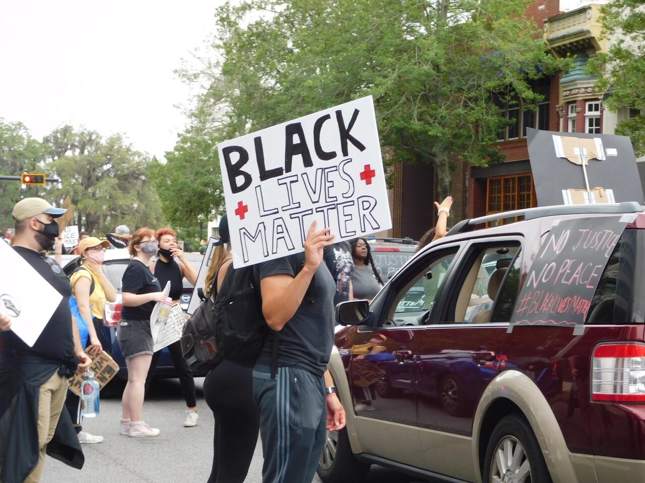 Justice for Humanity walk, Black Lives Matter sign