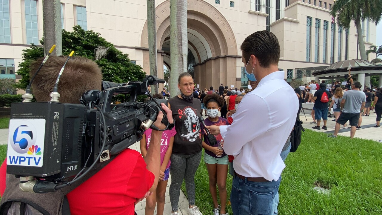 A group of protesters marched from Rosemary Square to the Palm Beach County Courthouse on Saturday, June 6, 2020.