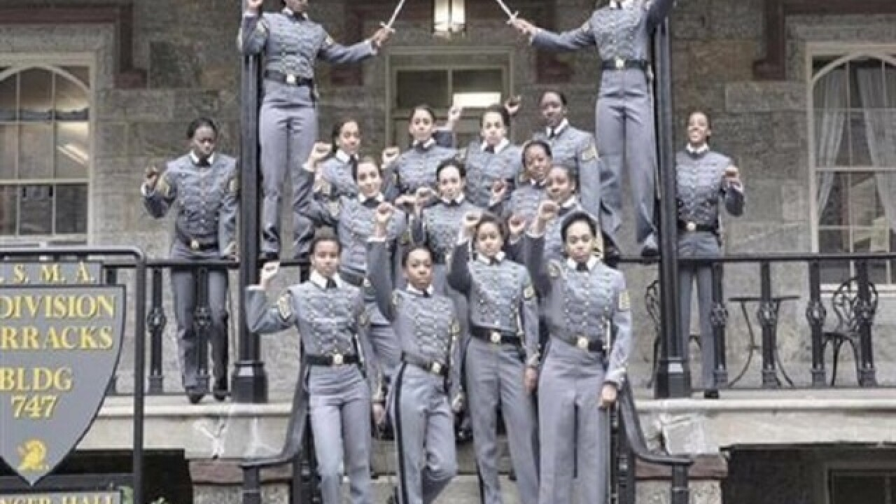 16 cadets in raised-fist photo won't be punished