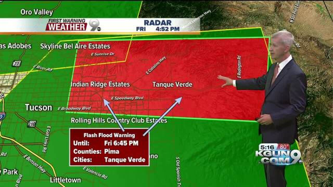 Flash flood warning issued in central Tucson