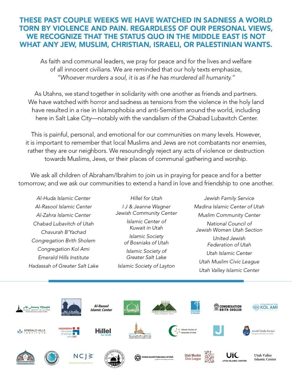 Utah Jewish and Muslim leader joint statement
