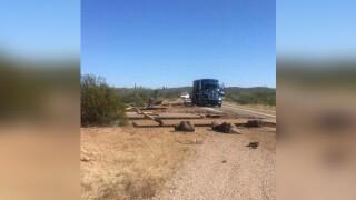 Semi-trailer carrying border wall panels crashes on SR-86