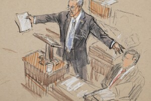 This artist sketch depicts Senate Minority Leader Chuck Schumer, D-N.Y., speaking in the Senate chamber during the impeachment trial.