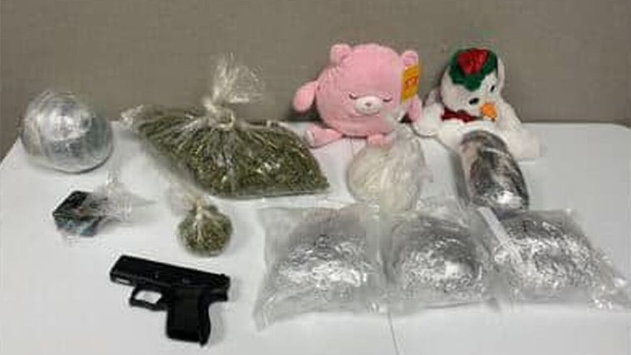 Search warrants were executed and yielded about five pounds of meth, a pound of marijuana, and a firearm