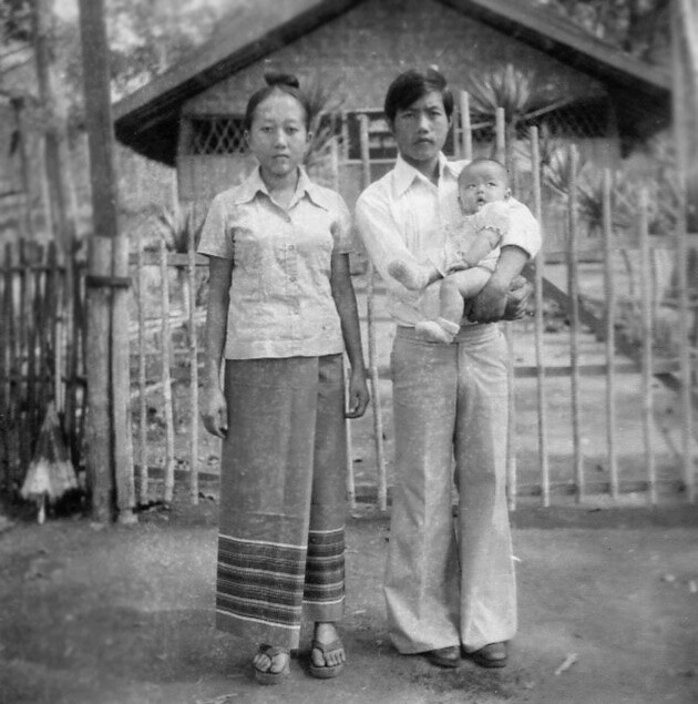Annie Vang and her parents in Vietnam