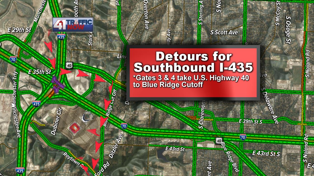 Detour for Southbound I-435