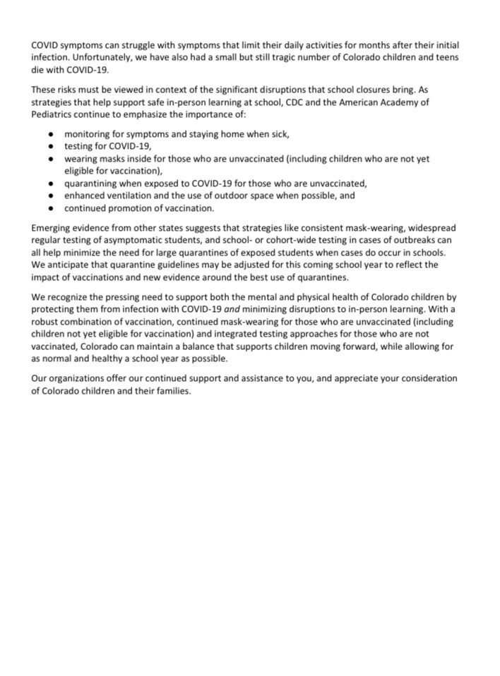 Colorado doctors, teachers unions write letter encouraging masks to be worn in schools in the fall_letter 2