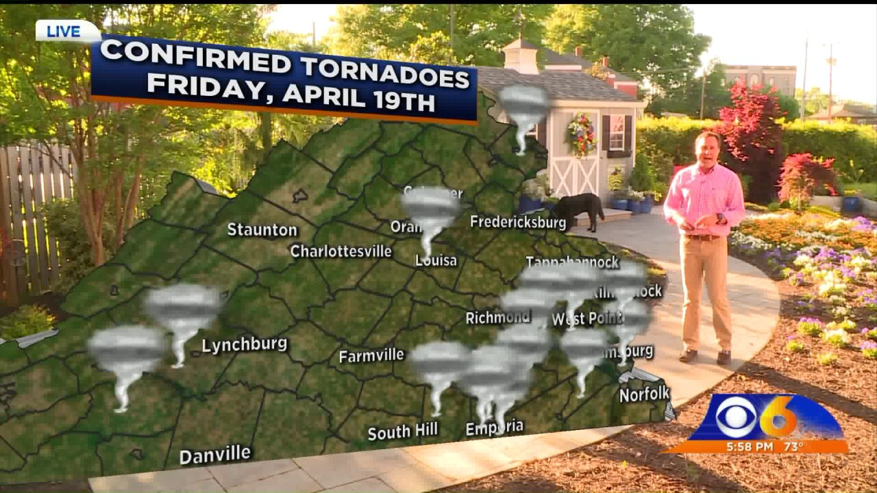 15 tornadoes touched down in Virginia during outbreak on Good Friday