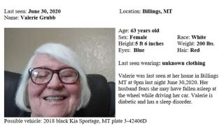 The Montana Department of Justice has issued a Missing/Endangered Person Advisory for Valerie Grubb of Billings.