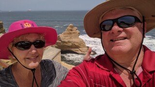 Kathleen McMullen and Lynn Johnson stranded in Peru.