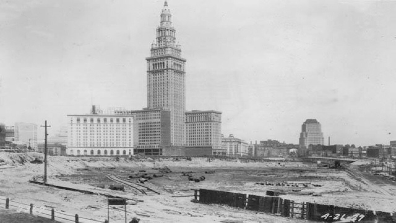 The Terminal Tower in its early days. Photo courtesy: Cleveland Memory Project.