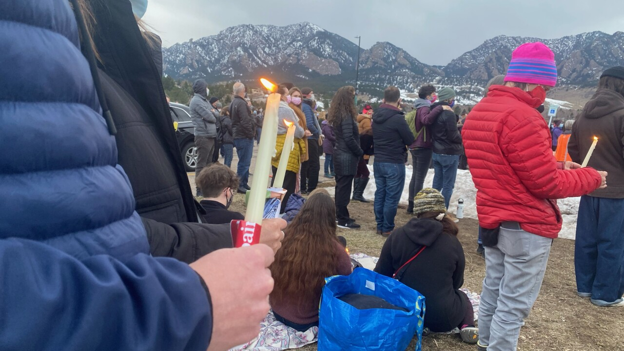 Mourners attending vigil at Fairview High School in Boulder
