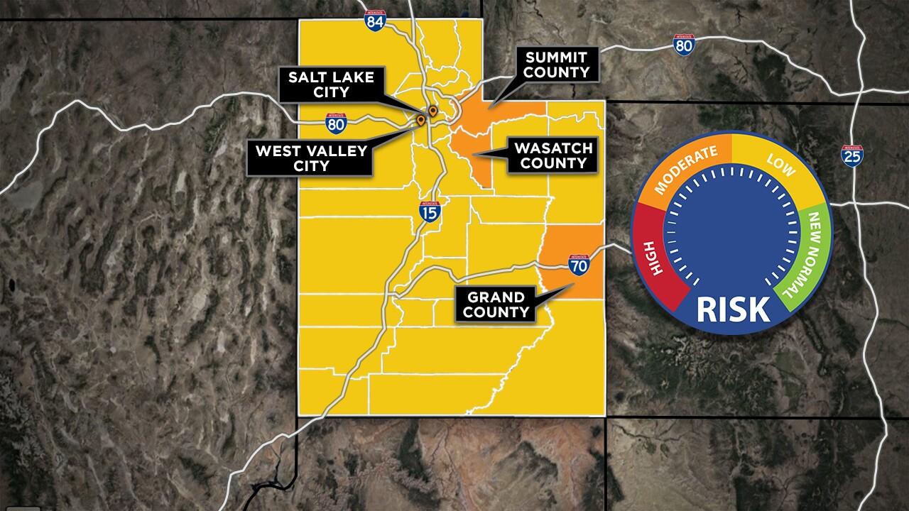 Utah Risk Level, Effective Saturday, May 16, 2020