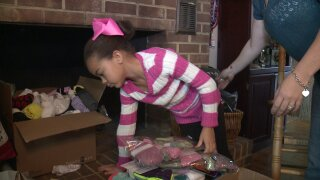 Photos: Young Virginia Beach girl collects more than 1,000 socks for thehomeless