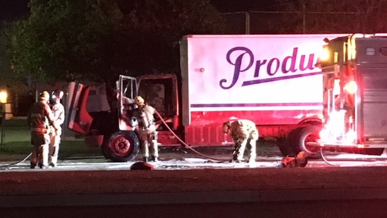Dairy truck catches fire on Airport Drive