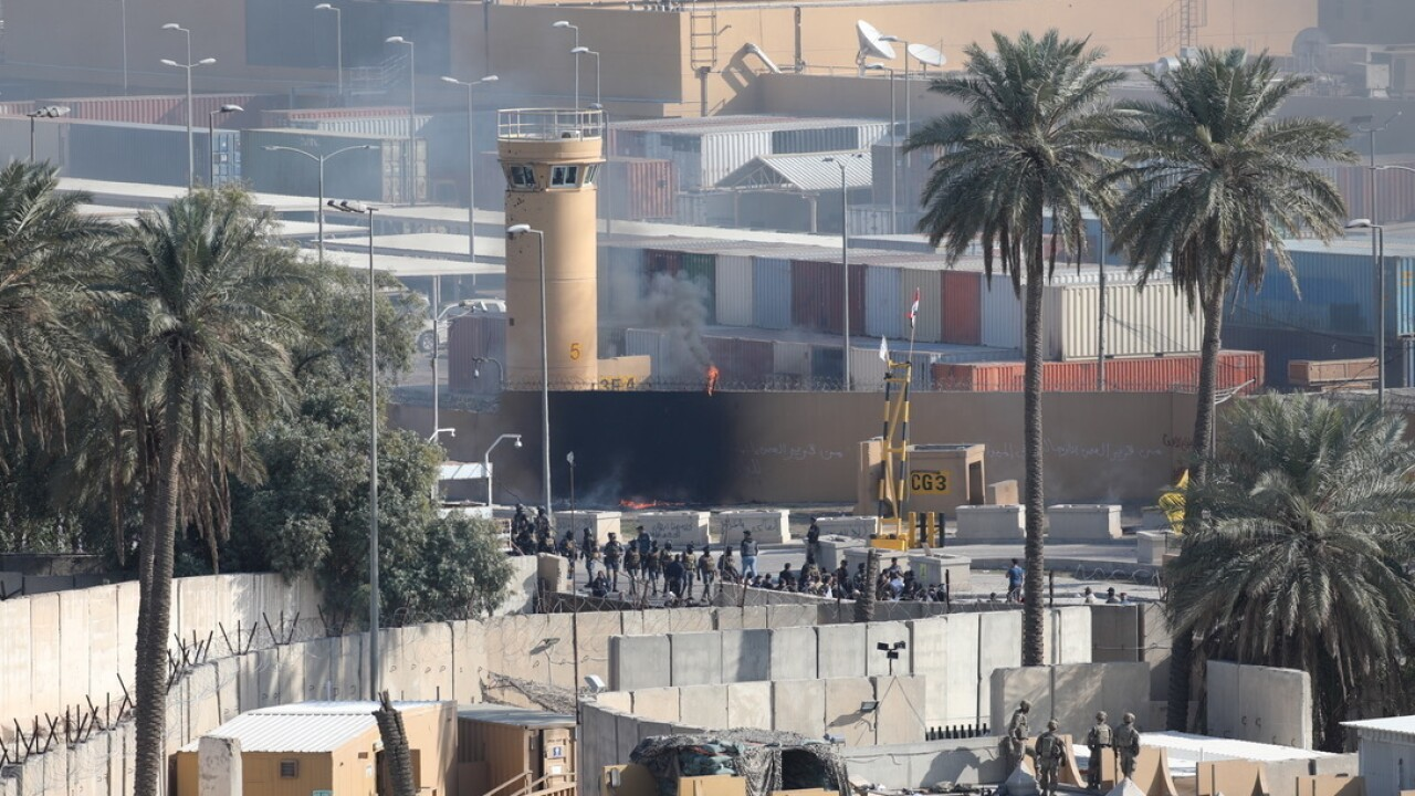 Assailants and attackers storm the U.S. Embassy Compound in Baghdad