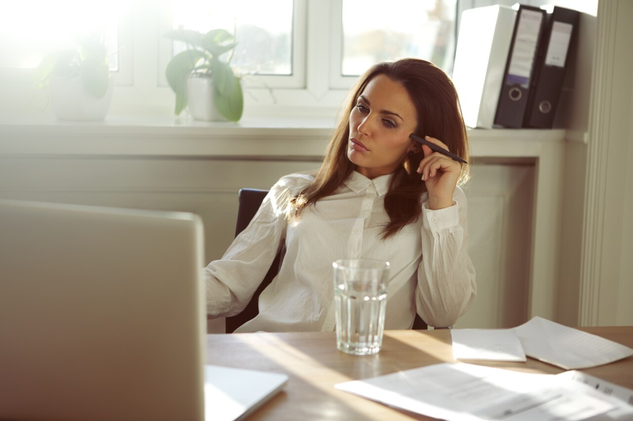 woman working from home computer
