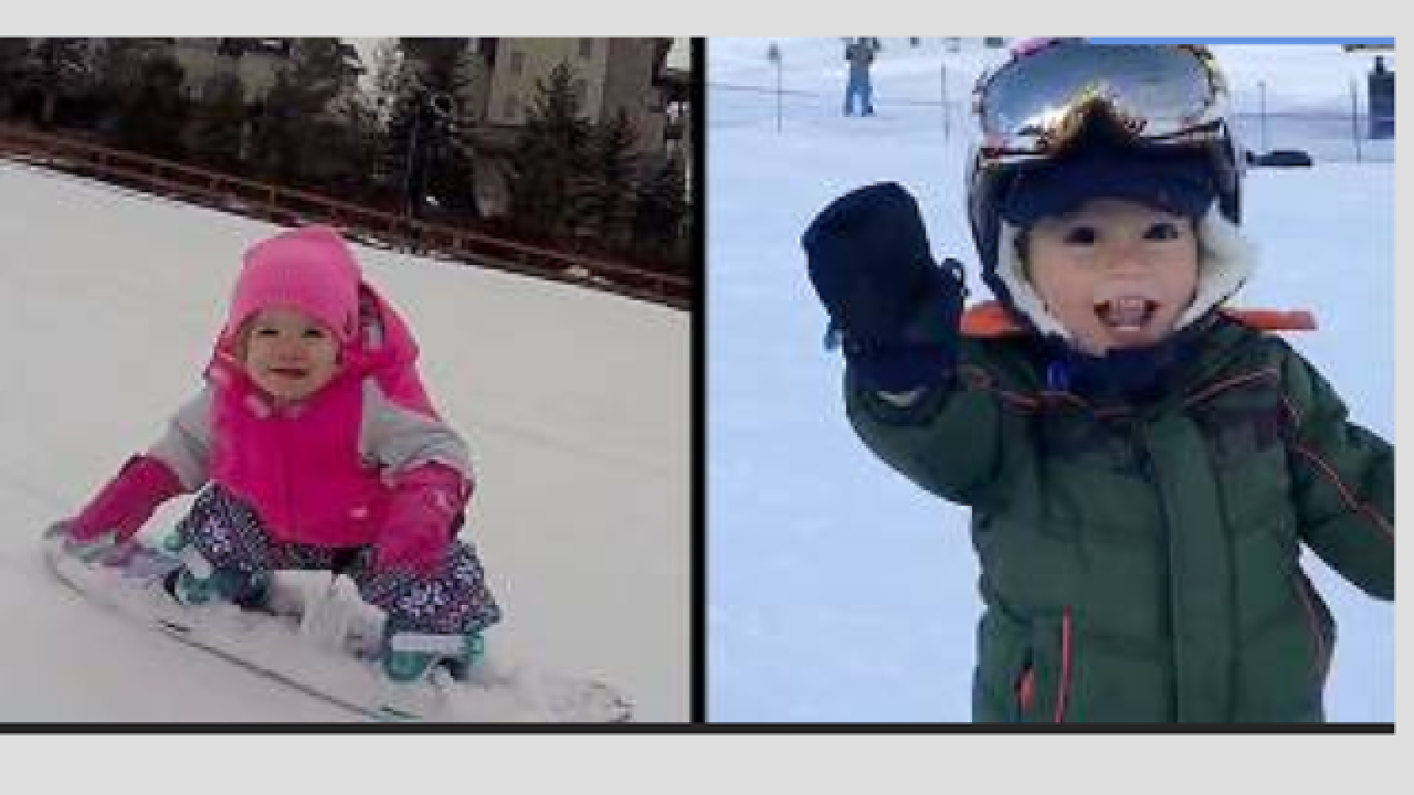 Adorable snowboarding toddlers are nearly pros