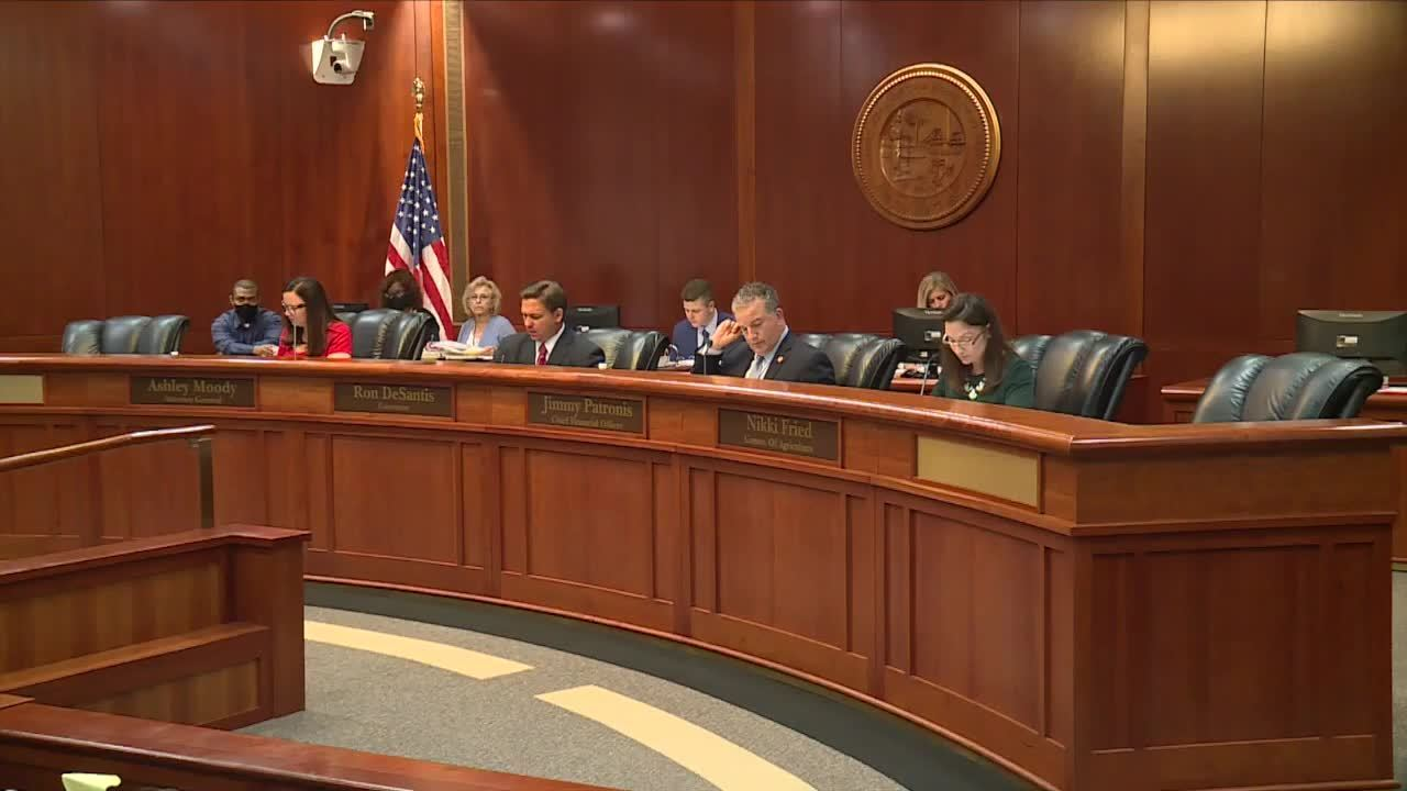 WTXL Attorney General Ashley Moody, Gov. Ron DeSantis, Chief Financial Officer Jimmy Patronis and Agriculture Commissioner Nikki Fried attend a Florida Clemency Board meeting June 16, 2021, in Tallahassee, Fla.