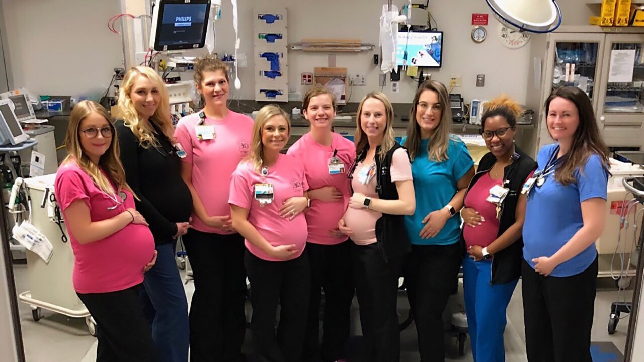 17 staffers in this medical center unit are all expecting. Yes, 17!