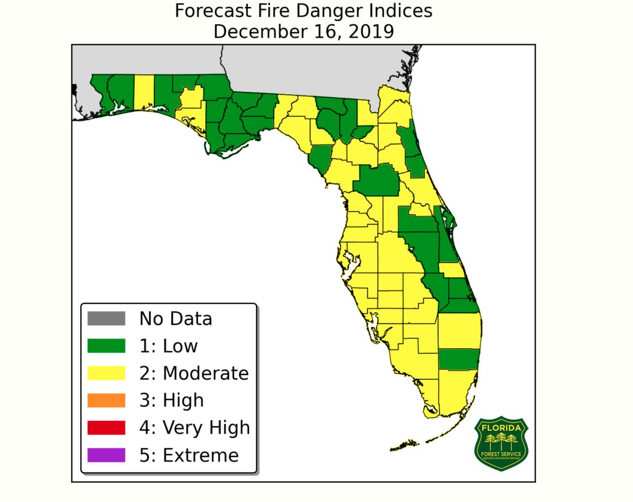 Florida Forest Service Fire Danger Map