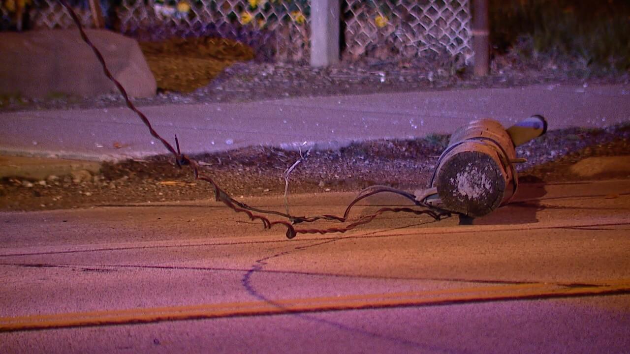 Car takes down three utility poles