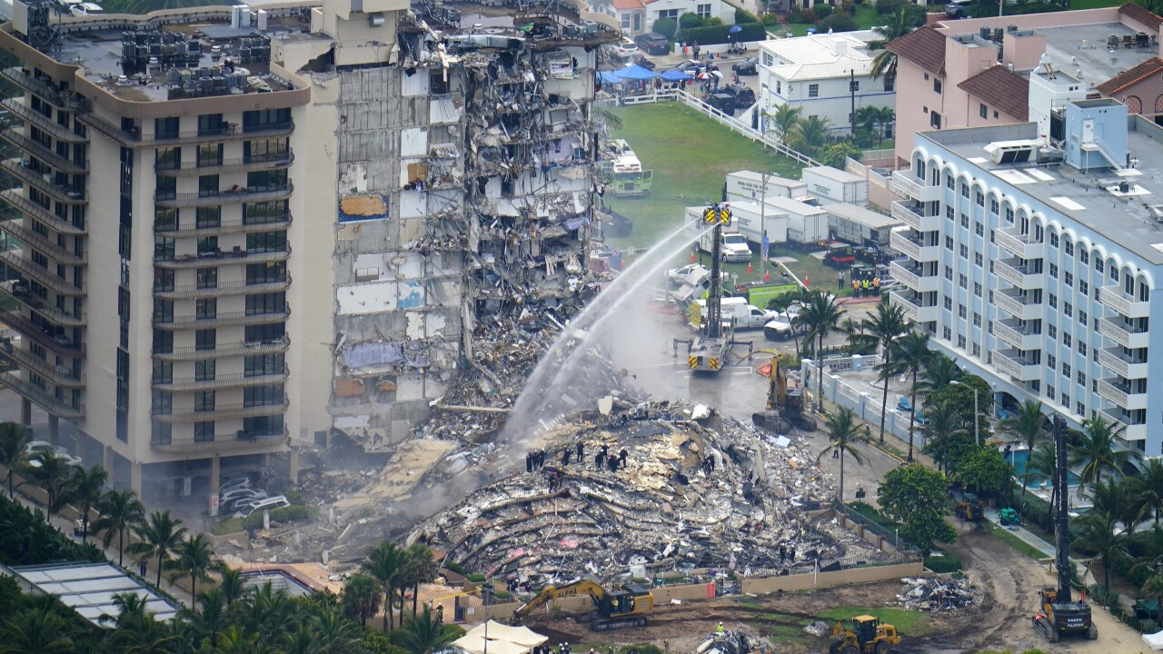 Aerial view of collapsed Champlain Towers South condo building, June 25, 2021