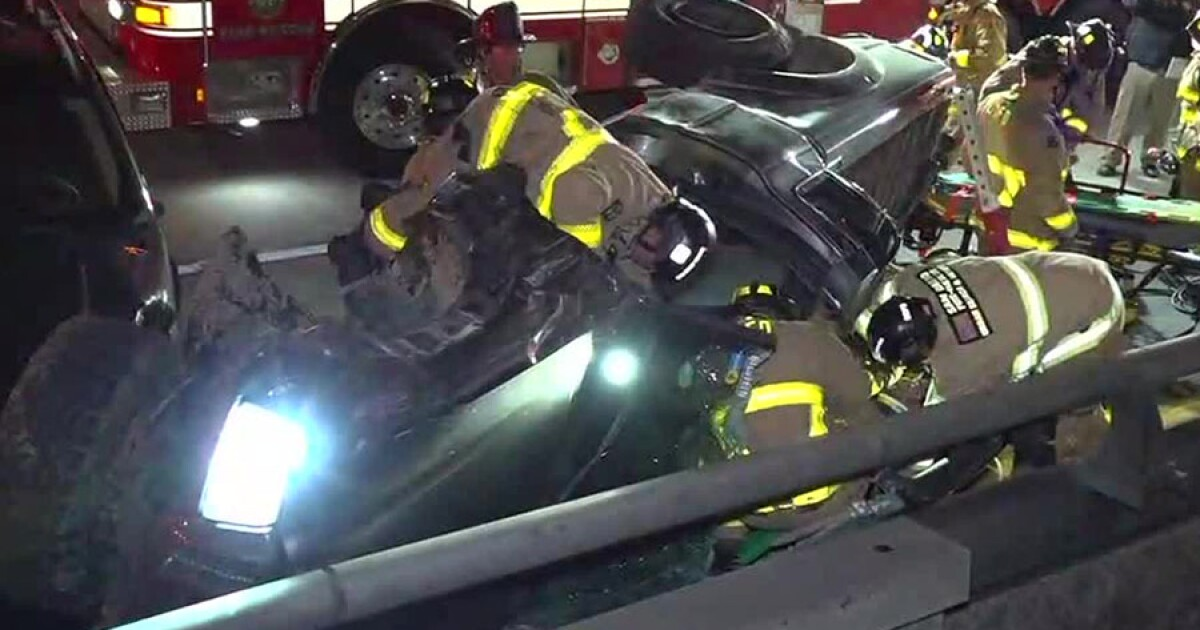 Man rescued from wreckage after crash on SR-163 ramp to I-5