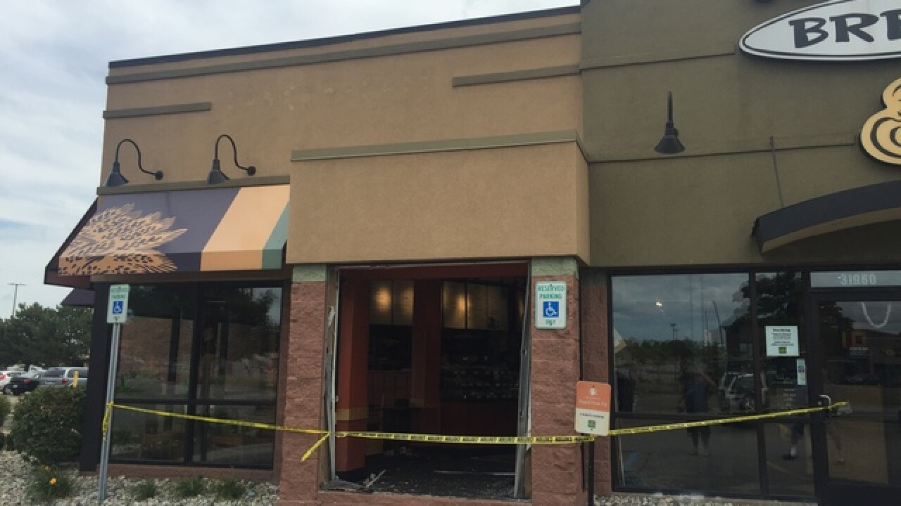 Two injured after car crashes into Panera Bread in Roseville
