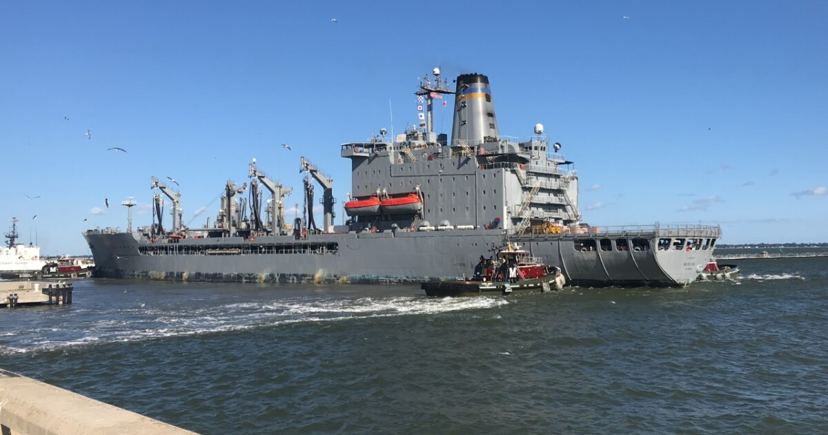 After 15 years at sea, Navy logistics, support ship returns to its new home