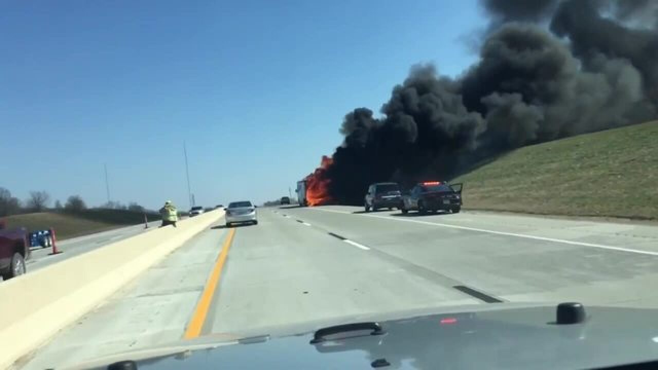 RV catches fire on expressway