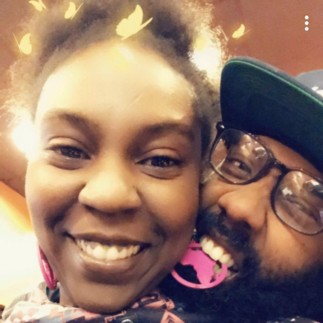 A picture of Greg and Camille. The two met while Camille was planting a Peace Garden outside of the convenience store Greg managed. Photo courtesy of Camille Mays