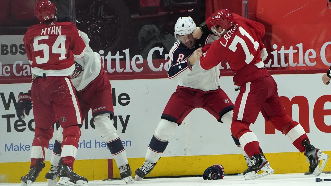 Blue Jackets Red Wings Hockey Larkin Werenski