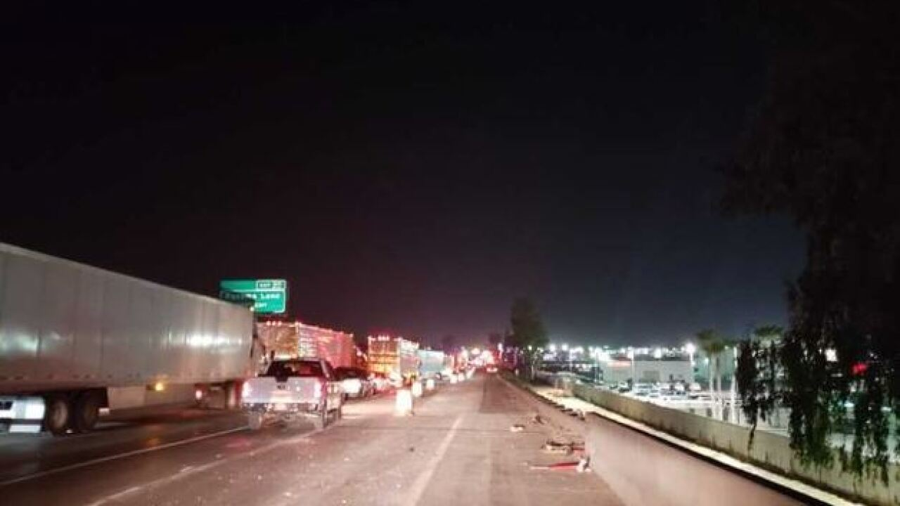 Traffic backed up on southbound Highway 99 due to crash involving