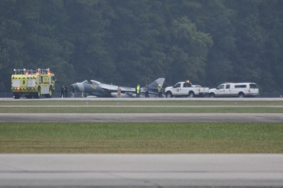 Photos: Military aircraft lands off runway at Newport News/Williamsburg InternationalAirport