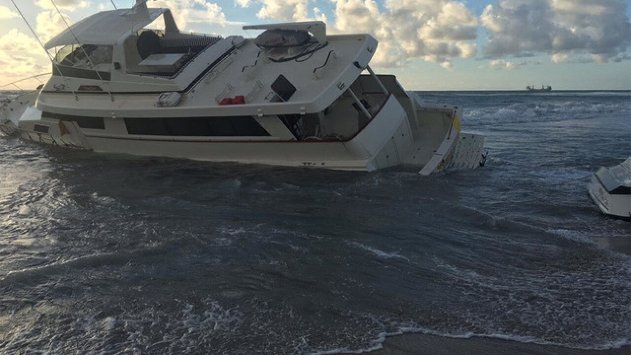 Yacht washes onto Palm Beach; Boater arrested