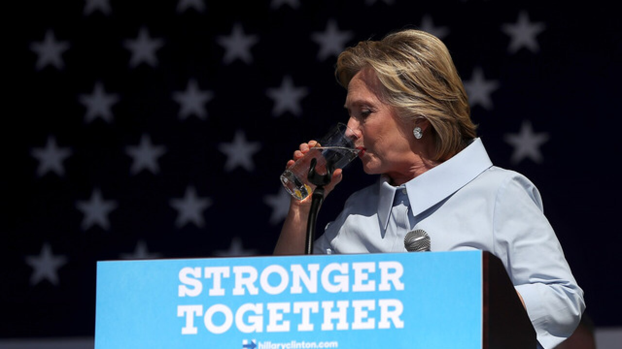 Clinton campaigns in Ohio with cough