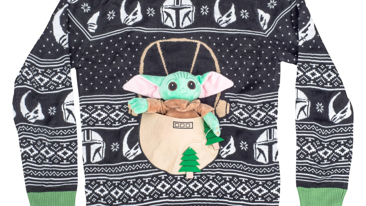 Local company selling 3D Baby Yoda ugly Christmas sweater