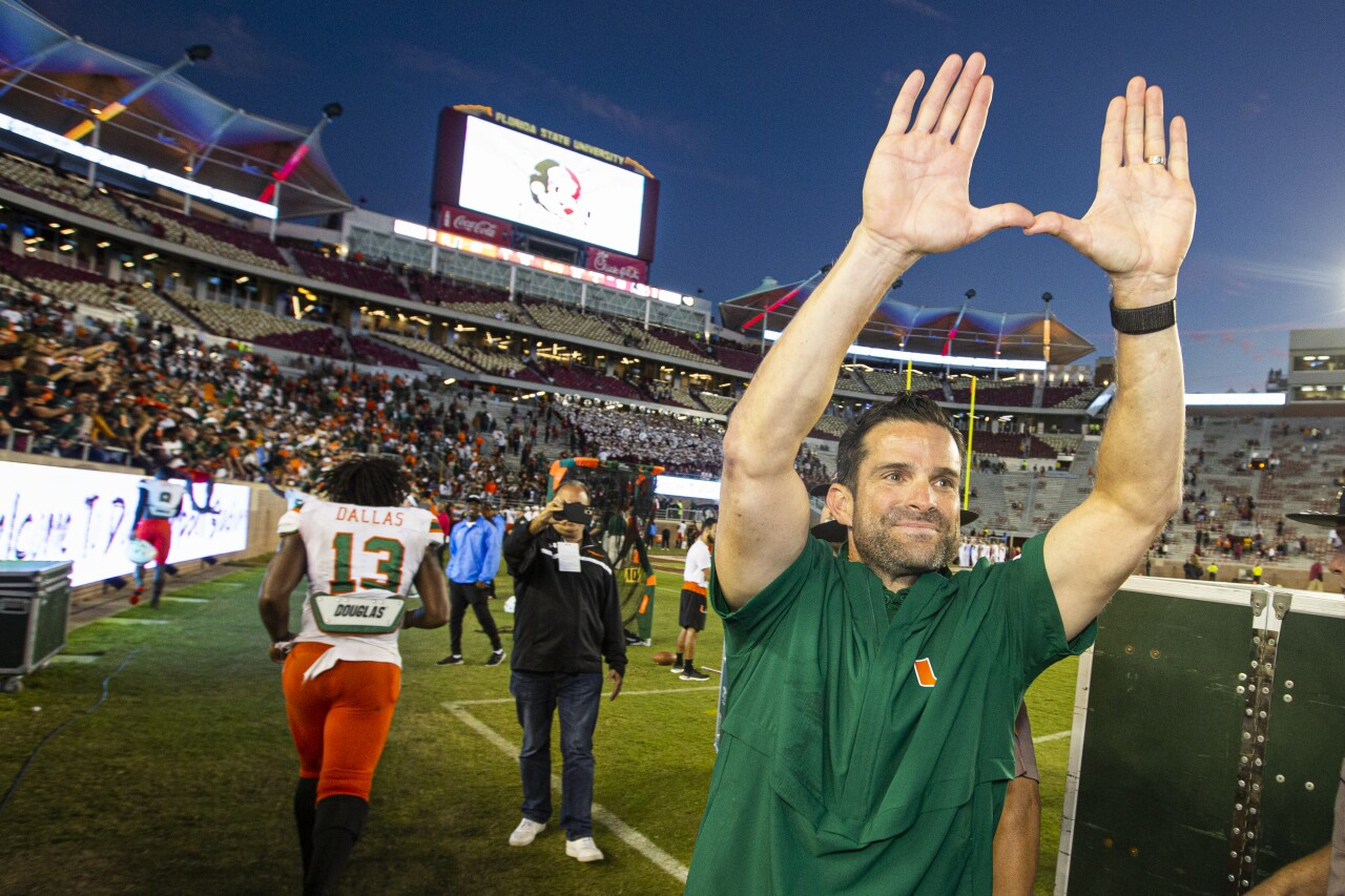 Manny Diaz flashes 'U' sign after 2019 Florida State-Miami game