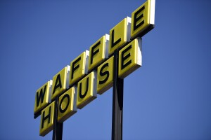 Waffle House sign in Kennesaw, Georgia, March 2020