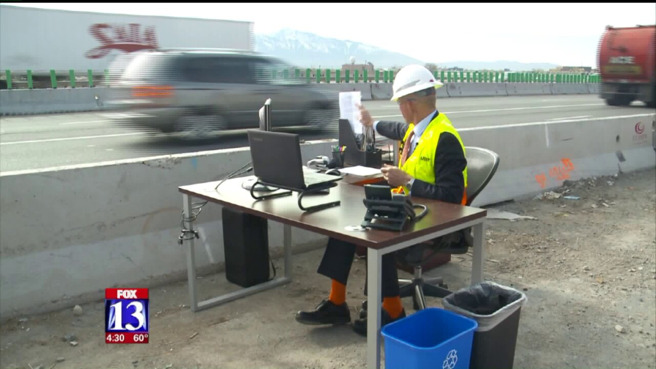 UDOT exec moves desk to construction site to urge drivers to slowdown