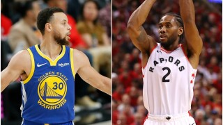 Steph Curry (left) and Kawhi Leonard. (Getty Images)