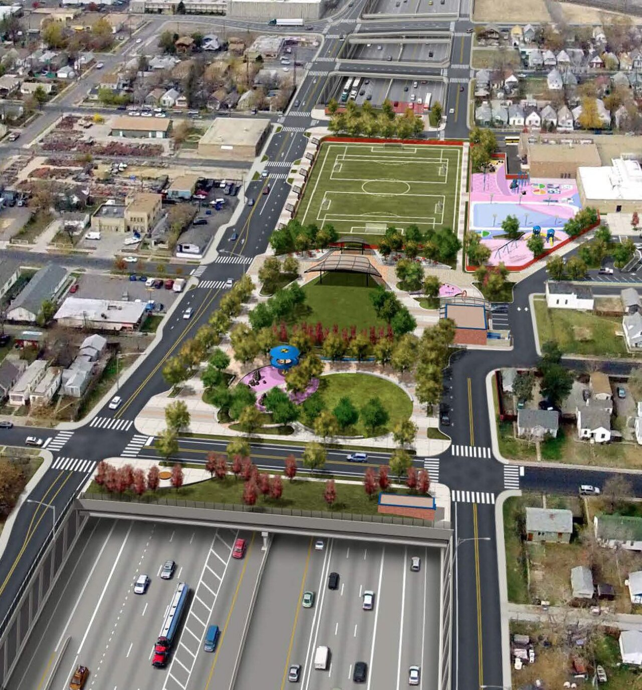 Park planned to cover lowered section of I-70