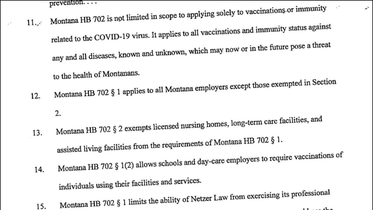 Another lawsuit filed to invalidate Montana's ban on requiring vaccinated employees