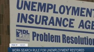 Work-search rule for unemployment restored