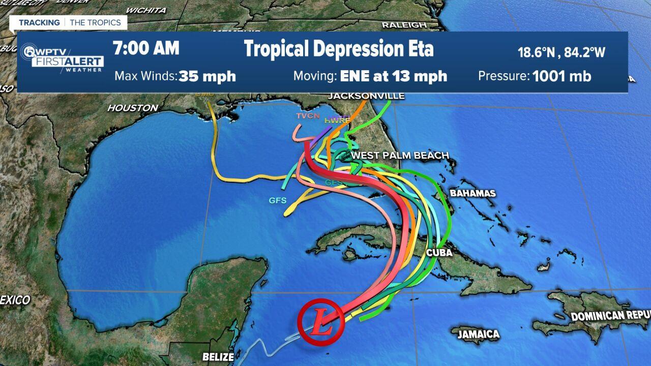 Tropical Depression Eta 7 a.m. computer models