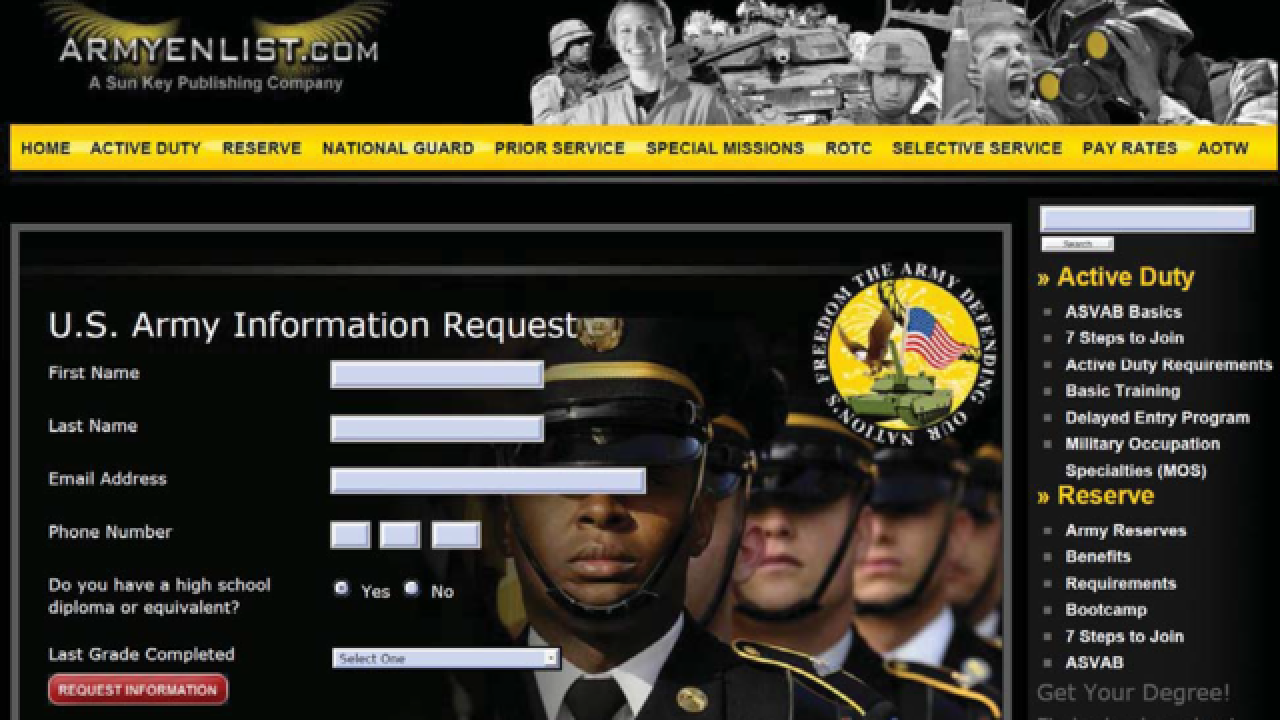 Feds warn of copycat military recruiting websites, ads